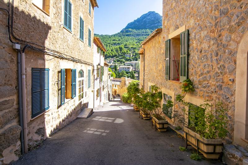 Streets of Deia, small village in the mountains, Mallorca, Spain stock image