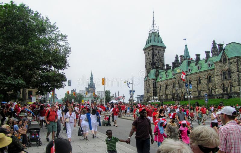 The streets of downtown Ottawa are packed with thousands of families and multicultural people celebrating Canada Day stock photos