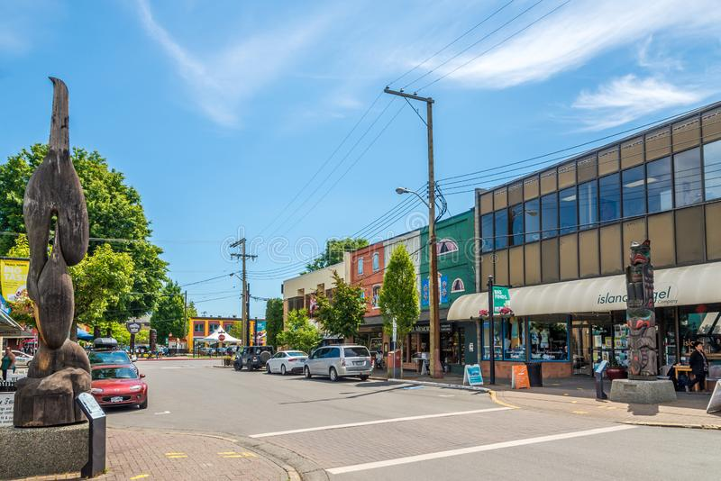 In the streets of Duncan - Canada. DUNCAN,CANADA - JULY 5,2018 - In the streets of Duncan. Duncan is `The City of Totems`. The city has 80 totem poles around the royalty free stock images