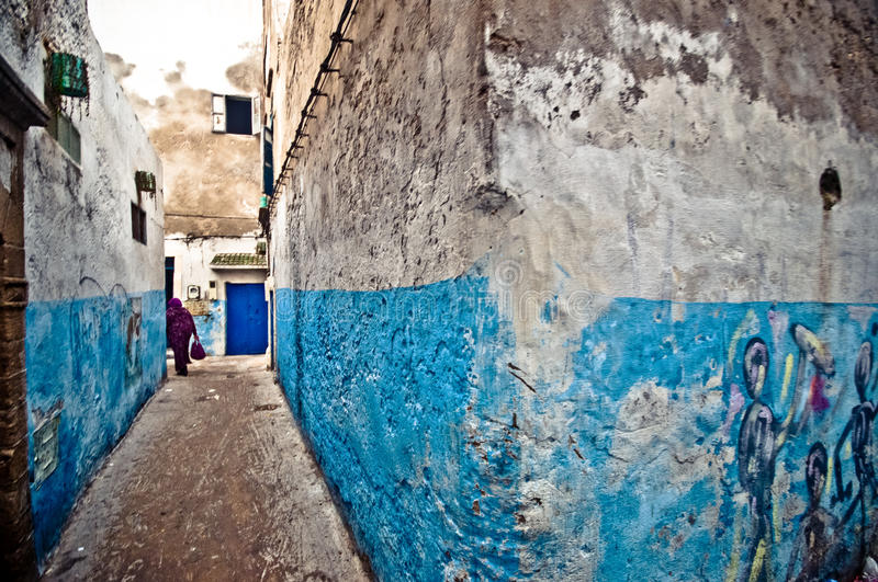 Streets of Essaouira in Morocco. Old town in the Streets of Essaouira in Morocco royalty free stock image