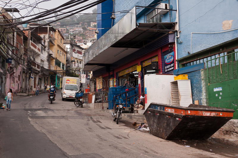 Streets of Favela Vidigal in Rio de Janeiro. Rio de Janeiro, Brazil - October 18, 2014: Streets of favela Vidigal in Rio de Janeiro, Brazil. After installing royalty free stock photography