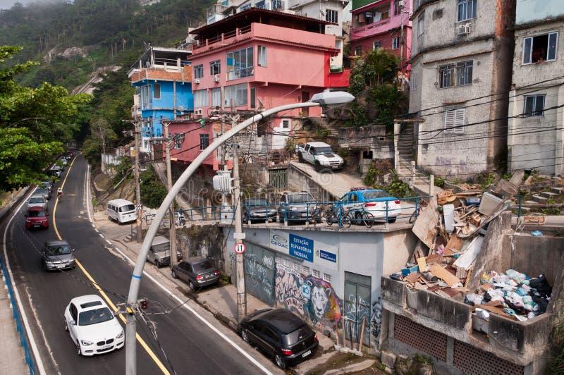Streets of Favela Vidigal in Rio de Janeiro royalty free stock photography