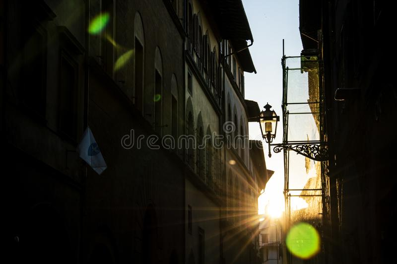 Streets of Florence, Italy in the evening, sunset. Shoot against the setting sun royalty free stock photos
