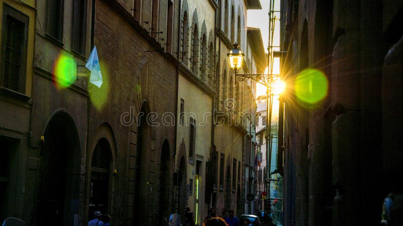 Streets of Florence, Italy in the evening, sunset. Shoot against the setting sun stock images