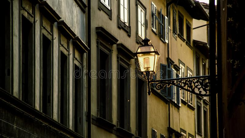 Streets of Florence, Italy in the evening, sunset. Shoot against the setting sun stock image