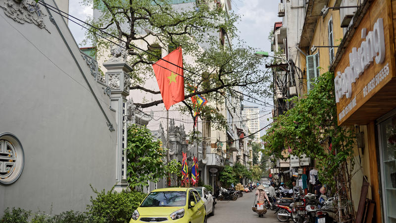 Streets of French Quarter in Hanoi royalty free stock photo