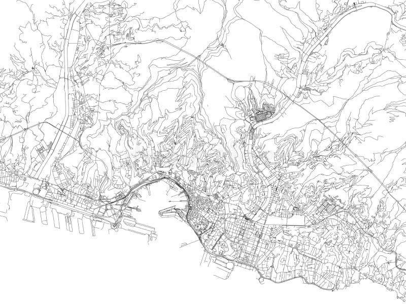 Streets of Genoa, city map, Liguria, Italy. royalty free illustration