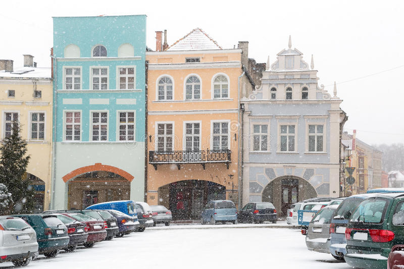 Download Square Of Gniew Town In Winter Scenery Stock Image - Image: 29834825