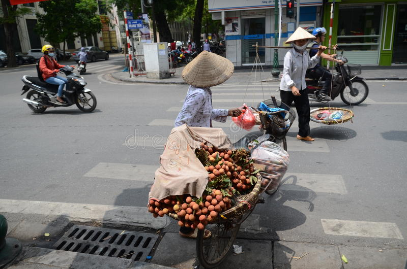 Streets of Hanoi. Fruit vendor walking by the streets of Hanoi,Vietnam stock photos