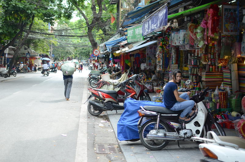 Streets of Hanoi. Shops and people on the streets of Hanoi,Vietnam stock images