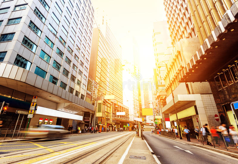 The streets of Hong Kong. Hong Kong's business district, a lot of shopping tourists stock images