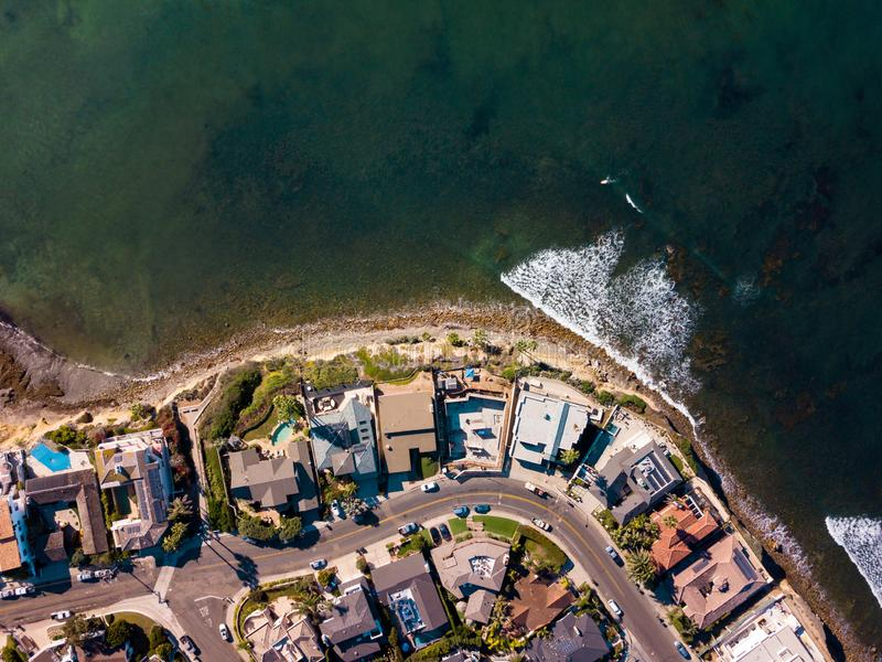 Streets and houses of San Diego Pacific beach aerial stock images