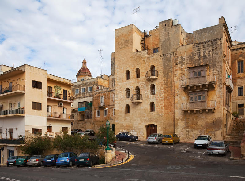 Streets and houses of Vittoriosa. Malta stock images
