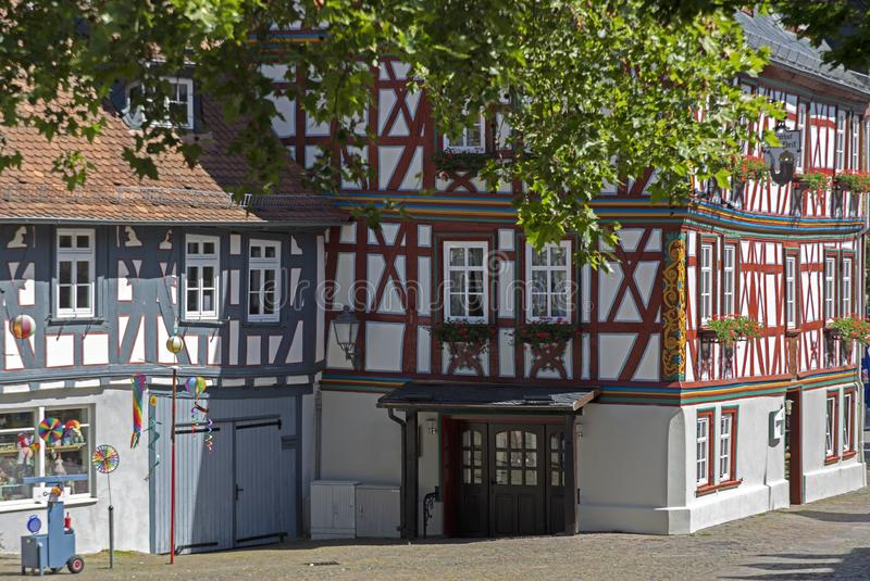 Streets of Idstein town in the Taunus area with half timbered houses. In Germany royalty free stock image