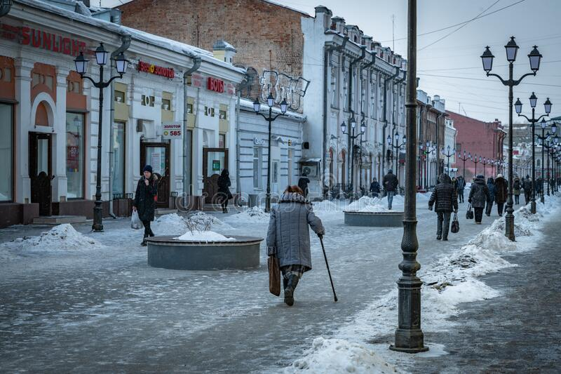 The streets of Irkutsk city by winter stock photo