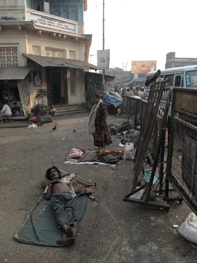 Streets of Kolkata. Beggars. Streets of Kolkata. Thousands of beggars are the most disadvantaged castes living in the streets royalty free stock photos