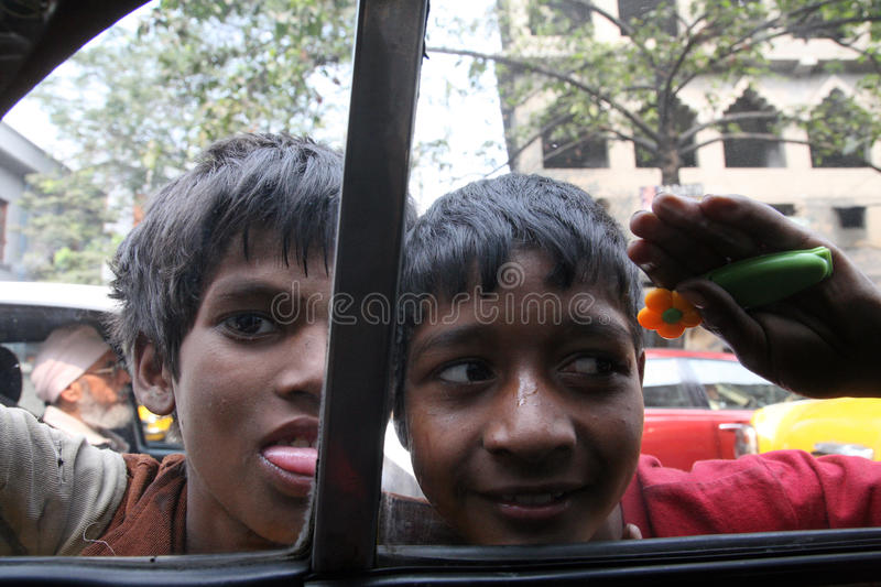 Streets of Kolkata, Beggars. Streets of Kolkata. Thousands of beggars are the most disadvantaged castes living in the streets, January 23, 2009 royalty free stock photography