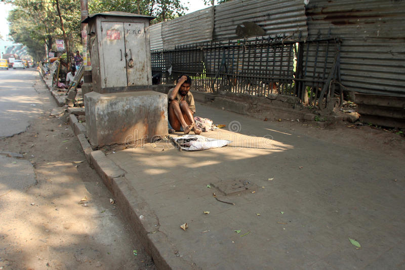Streets of Kolkata, Beggars royalty free stock photo