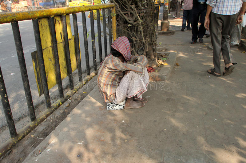Streets of Kolkata, Beggars royalty free stock image