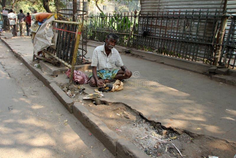 Streets of Kolkata. Beggars. Streets of Kolkata. Thousands of beggars are the most disadvantaged castes living in the streets on November 28, 2012 in Kolkata royalty free stock photography