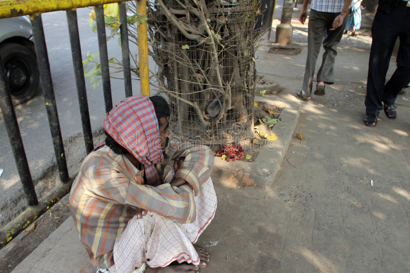 Streets of Kolkata. Beggars. Streets of Kolkata. Thousands of beggars are the most disadvantaged castes living in the streets on November 28, 2012 in Kolkata royalty free stock images