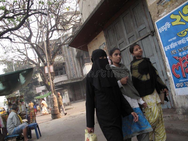 Streets of Kolkata. Muslim woman in burkha. January 23, 2009 royalty free stock photography