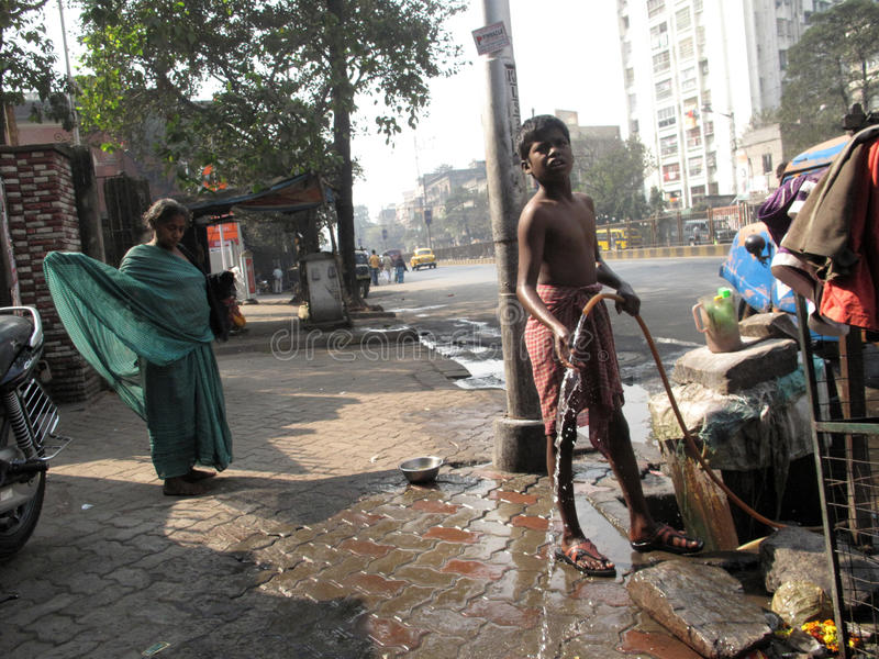 Streets of Kolkata. People live and work on the streets royalty free stock photos