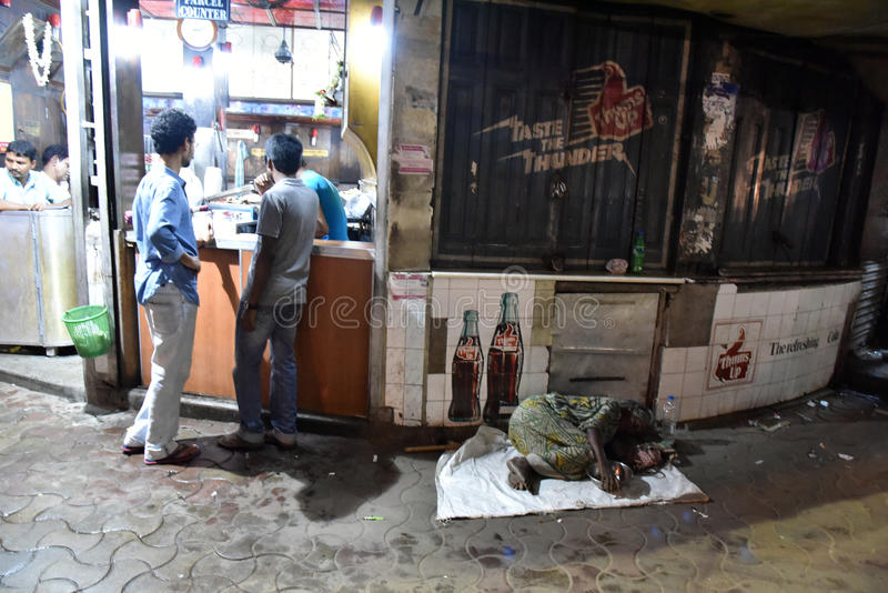 Streets of Kolkata. Thousands of beggars are the most disadvantaged castes living in the streets, 42% of India falls below the international poverty line stock photos