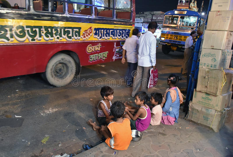 Streets of Kolkata. Thousands of beggars are the most disadvantaged castes living in the streets, 42% of India falls below the international poverty line stock image