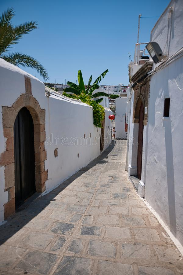 Streets leading up to the Acropolis Lindos. stock images