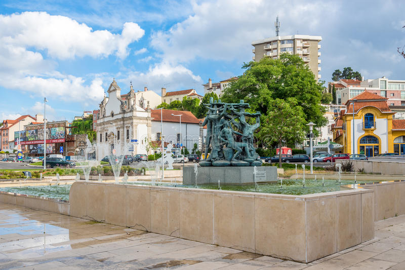 In the streets of Leiria in Portugal. LEIRIA,PORTUGAL - MAY 11,2017 - In the streets of Leiria in Portugal. Leiria is located in the Centro Region halfway royalty free stock images