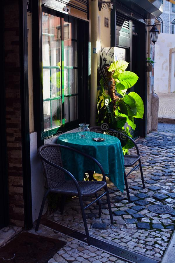 Streets of Lisbon. Cafe royalty free stock photography