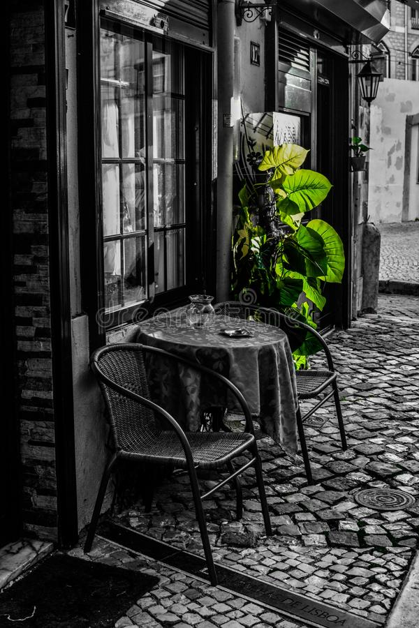 Streets of Lisbon. Cafe stock images