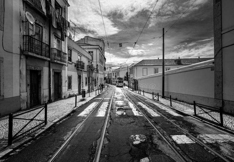 The streets of Lisbon. Lisbon tram. Portugal. black and white royalty free stock image