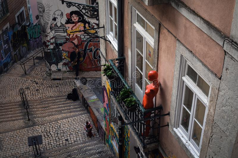 Streets of Lisbon. Serenata royalty free stock image