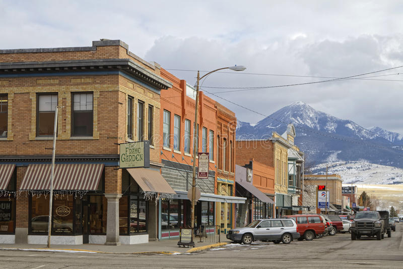 Streets of Livingston, Montana. LIVINGSTON, MONTANA, January 25, 2017 : Downtown Livingston. Originally called called Clark City after Heman Clark, principal stock photo