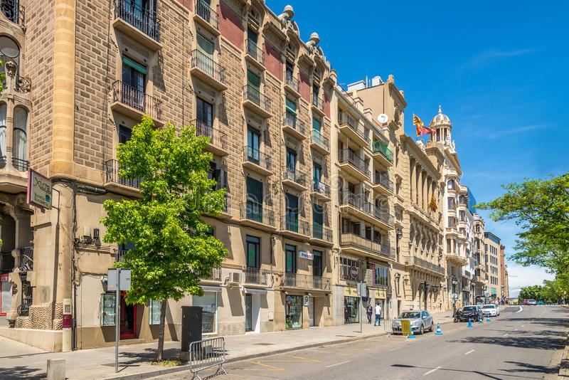 In the streets of Lleida in Catalonia,Spain. LLEIDA,SPAIN - MAY 11,2019 - In the streets of Lleida. Lleida is one of the oldest towns in Catalonia,Spain stock photo