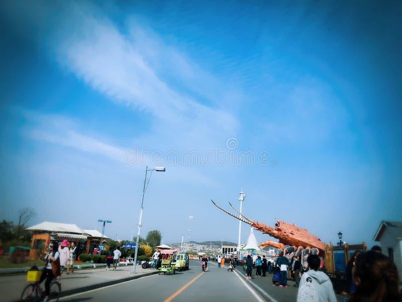 Streets near the seashore in Dalian city stock photos