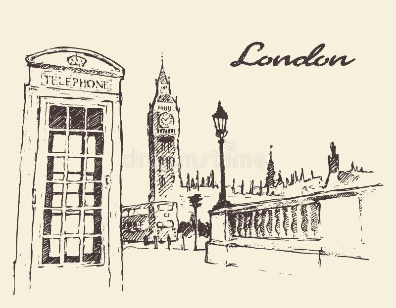 Streets in London England Bus Big Ben drawn vector illustration