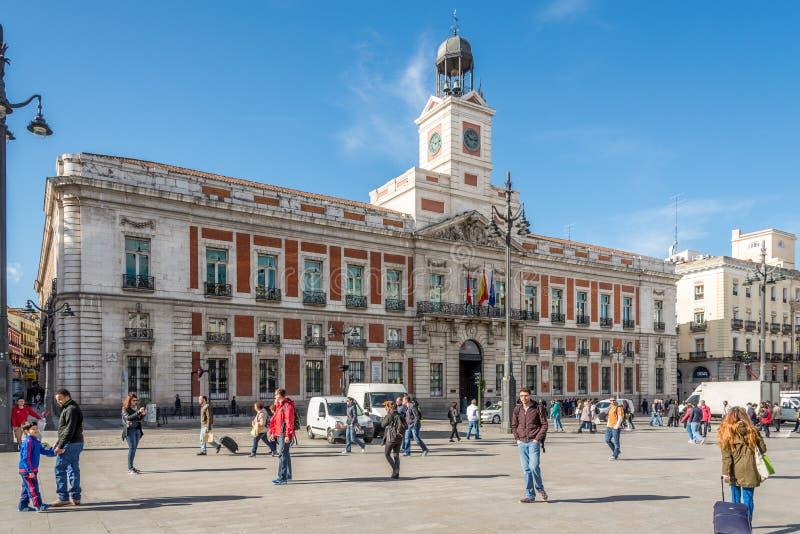 In the streets of Madrid (Puerta del Sol) - building of (Comunidad de Madrid). MADRID,SPAIN - APRIL 25,2016 - In the streets of Madrid (Puerta del Sol) royalty free stock photo