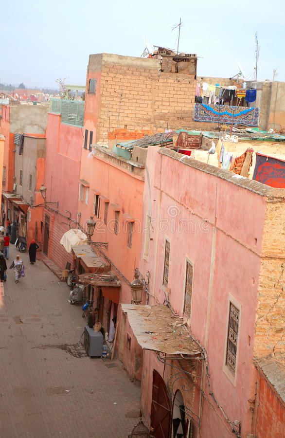 Streets of Marrakech. View of a street in Marrakech stock image