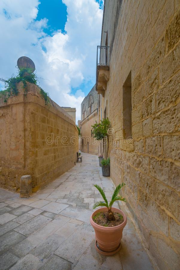 Streets of Mdina, called Silent City, medieval capital of Malta stock images