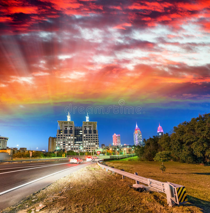 Streets of Mobile after sunset, Alabama royalty free stock photography