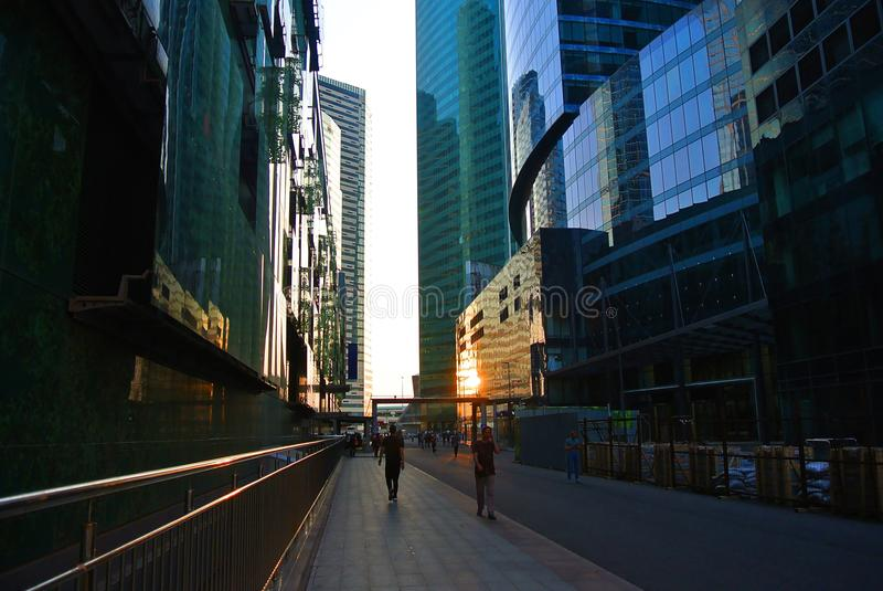 Streets of a new business center in Moscow-city royalty free stock photography