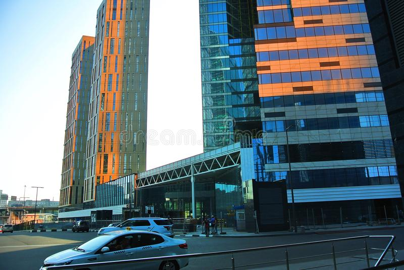 Streets of a new business center in Moscow-city royalty free stock images