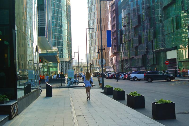 Streets of a new business center in Moscow-city royalty free stock image