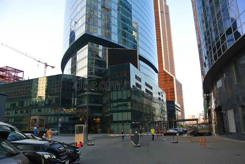 Streets of a new business center in Moscow-city stock image