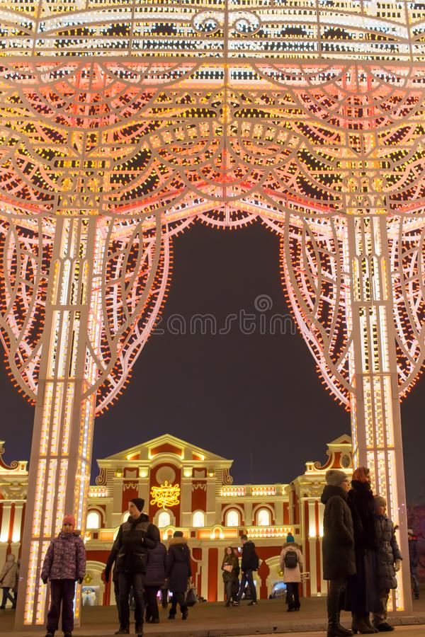 Streets of Moscow decorated for New Year and Christmas celebration. royalty free stock images