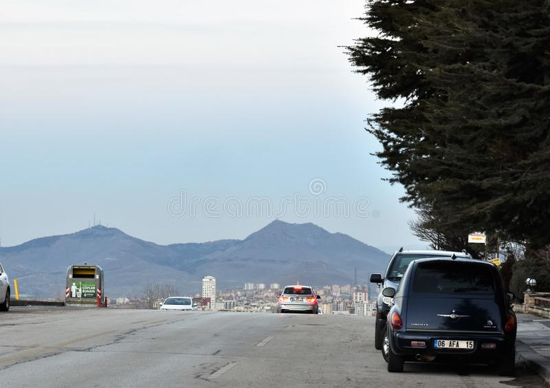 Streets and Mountains in Ankara stock photography