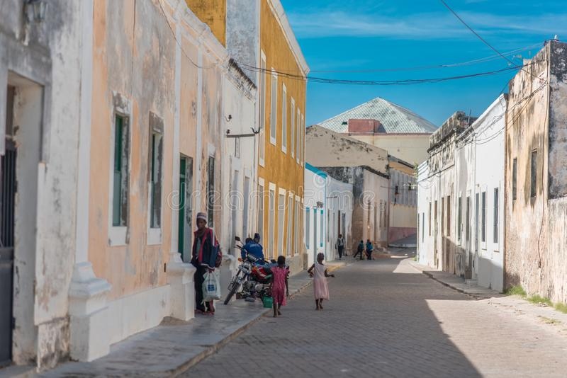 The streets of Mozambique Island town Ilha de Mocambique with weathered walls royalty free stock photography